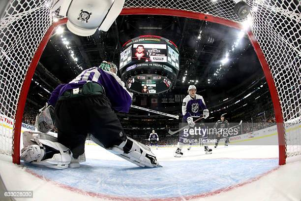 Devan Dubnyk of the Minnesota Wild and Patrik Laine of the Winnipeg Jets react to a goal during the 2017 Honda NHL AllStar Game Semifinal at Staples...