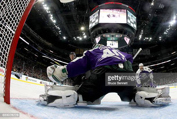 Devan Dubnyk of the Minnesota Wild attempts to make a save during the 2017 Honda NHL AllStar Game Semifinal at Staples Center on January 29 2017 in...