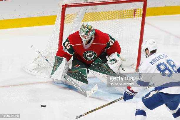 Devan Dubnyk of the Minnesota Wild defends his goal against Nikita Kucherov of the Tampa Bay Lightning during the game on February 10 2017 at the...