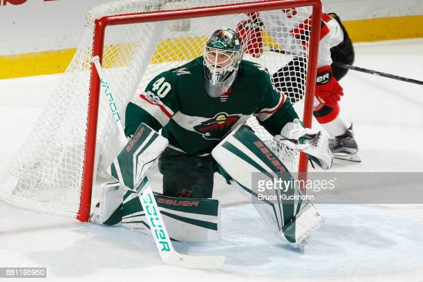 Devan Dubnyk of the Minnesota Wild defends his goal against the New Jersey Devils during the game at the Xcel Energy Center on November 20 2017 in St...