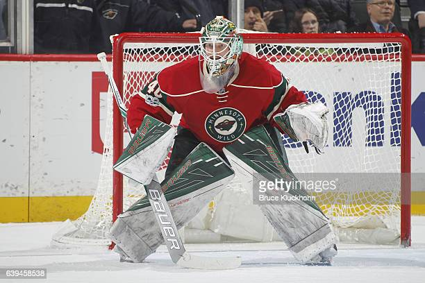 Devan Dubnyk of the Minnesota Wild defends his goal against the Arizona Coyotes during the game on January 19 2017 at the Xcel Energy Center in St...