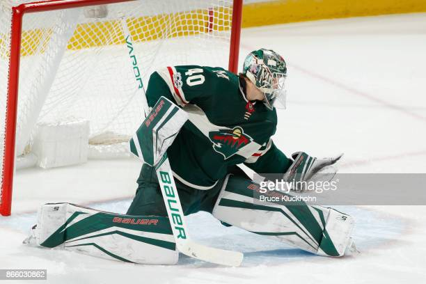 Devan Dubnyk of the Minnesota Wild defends his goal against the Vancouver Canucks during the game at the Xcel Energy Center on October 24 2017 in St...