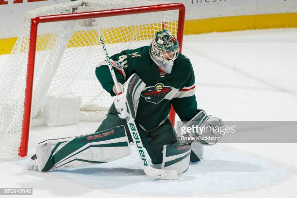 Devan Dubnyk of the Minnesota Wild defends his goal against the Montreal Canadiens during the game at the Xcel Energy Center on November 2 2017 in St...