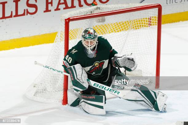 Devan Dubnyk of the Minnesota Wild defends his goal against the Chicago Blackhawks during the game at the Xcel Energy Center on November 4 2017 in St...