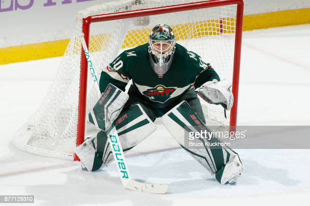 Devan Dubnyk of the Minnesota Wild defends his goal against the Philadelphia Flyers during the game at the Xcel Energy Center on November 14 2017 in...