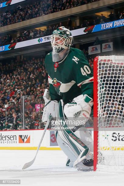Devan Dubnyk of the Minnesota Wild defends his goal against the Nashville Predators during the game at the Xcel Energy Center on November 16 2017 in...
