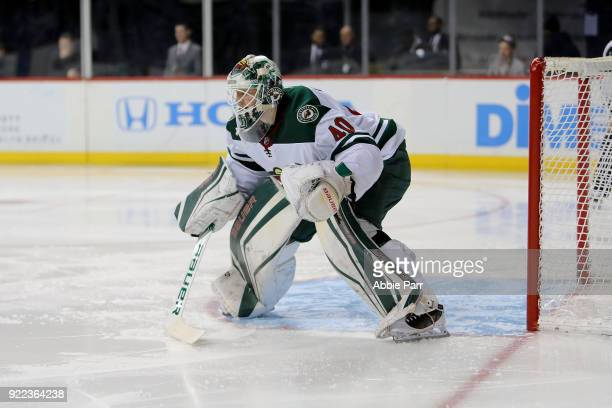 Devan Dubnyk of the Minnesota Wild defends the goal in the second period against the New York Islanders during their game at Barclays Center on...