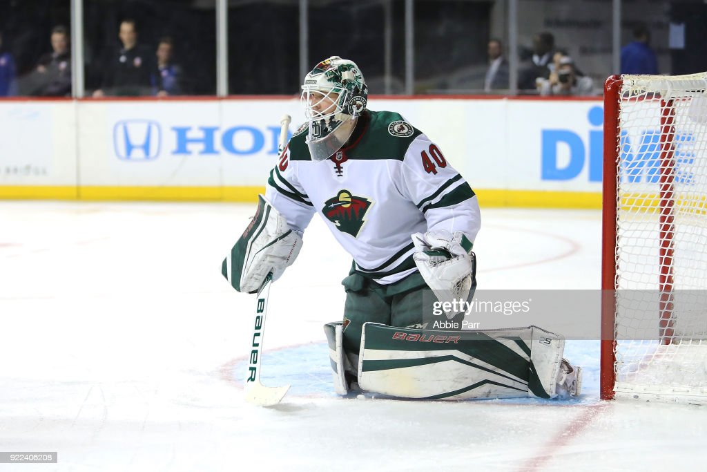Devan Dubnyk #40 of the Minnesota Wild defends the goal in the second period against the New York Islanders during their game at Barclays Center on February 19, 2018 in the Brooklyn borough of New York City.