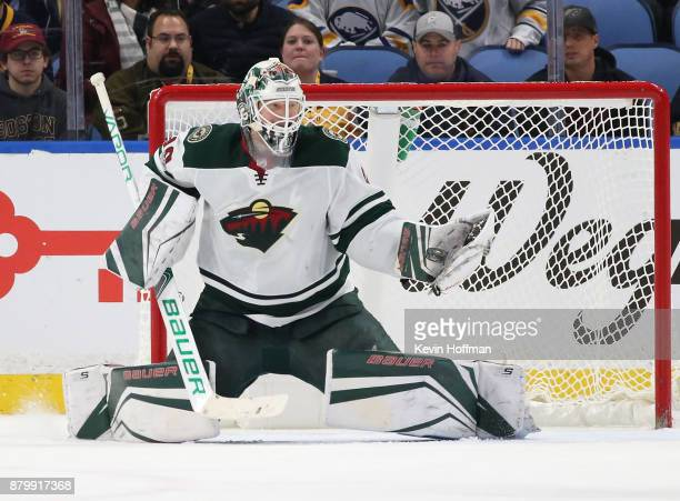 Devan Dubnyk of the Minnesota Wild during the game against the Buffalo Sabres at the KeyBank Center on November 22 2017 in Buffalo New York