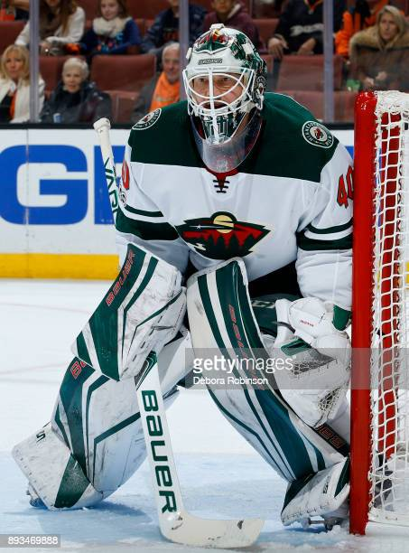 Devan Dubnyk of the Minnesota Wild holds the crease during the game against the Anaheim Ducks on December 8 2017 at Honda Center in Anaheim California