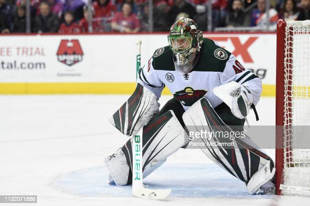 Devan Dubnyk of the Minnesota Wild in action in the third period against the Washington Capitals at Capital One Arena on March 22 2019 in Washington...
