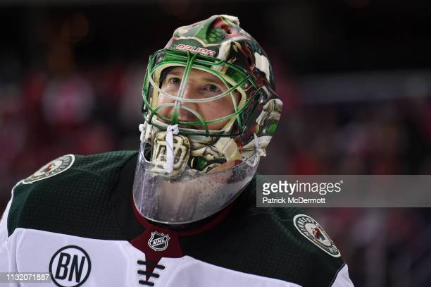 Devan Dubnyk of the Minnesota Wild looks on in the third period against the Washington Capitals at Capital One Arena on March 22 2019 in Washington DC