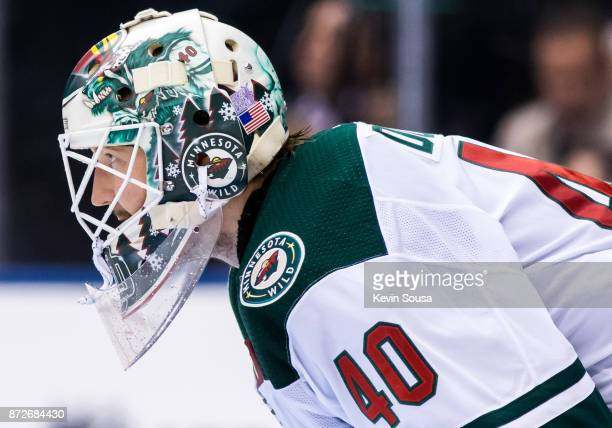 Devan Dubnyk of the Minnesota Wild looks up ice against the Toronto Maple Leafs during the second period at the Air Canada Centre on November 8 2017...