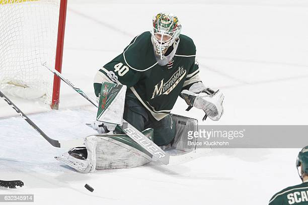 Devan Dubnyk of the Minnesota Wild makes a save against the Anaheim Ducks during the game on January 21 2017 at the Xcel Energy Center in St Paul...