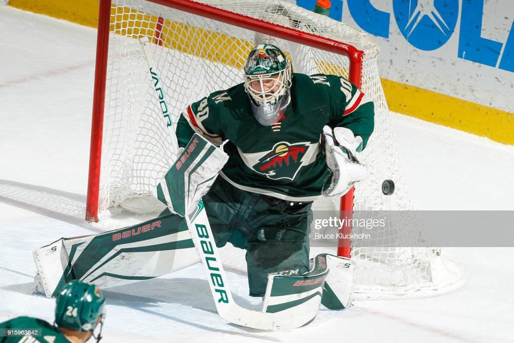 Devan Dubnyk #40 of the Minnesota Wild makes a save against the Arizona Coyotes during the game at the Xcel Energy Center on February 8, 2018 in St. Paul, Minnesota.
