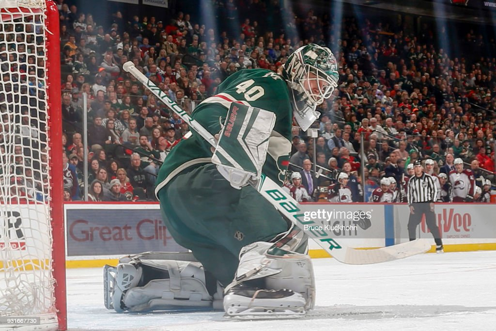 Devan Dubnyk #40 of the Minnesota Wild makes a save against the Colorado Avalanche during the game at the Xcel Energy Center on March 13, 2018 in St. Paul, Minnesota.