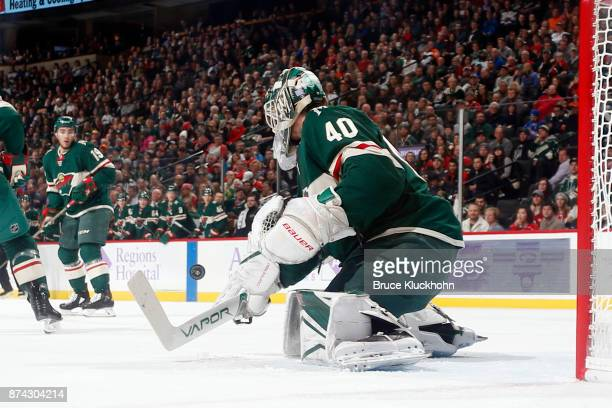 Devan Dubnyk of the Minnesota Wild makes a save against the Philadelphia Flyers during the game at the Xcel Energy Center on November 14 2017 in St...