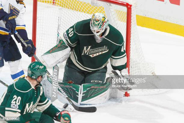 Devan Dubnyk of the Minnesota Wild makes a save against the St Louis Blues in Game Five of the Western Conference First Round during the 2017 NHL...