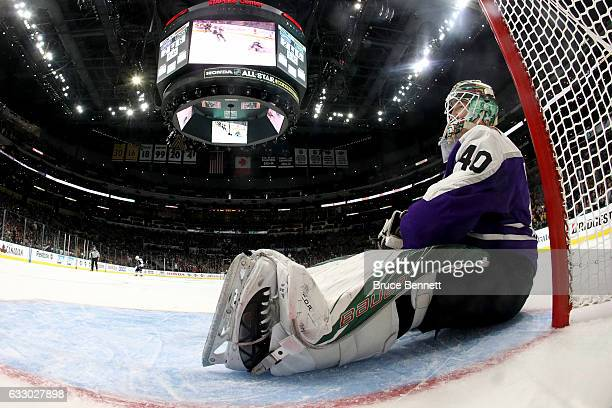 Devan Dubnyk of the Minnesota Wild reacts after a goal during the 2017 Honda NHL AllStar Game Semifinal at Staples Center on January 29 2017 in Los...