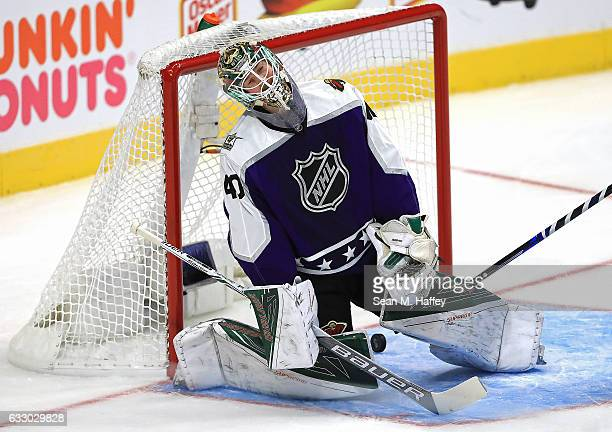 Devan Dubnyk of the Minnesota Wild reacts after allowing a goal against the Pacific Division AllStars during the 2017 Honda NHL AllStar Game...