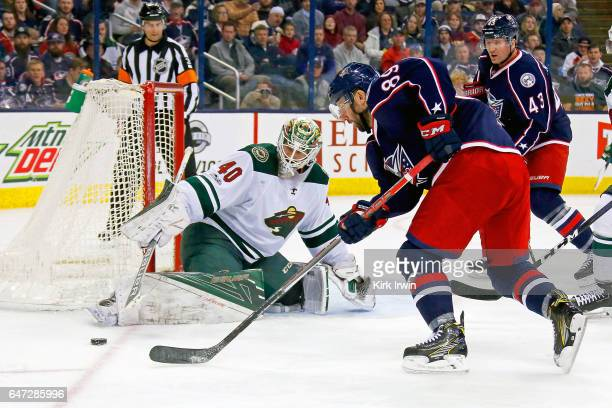Devan Dubnyk of the Minnesota Wild stops a shot from Sam Gagner of the Columbus Blue Jackets during the second period on March 2 2017 at Nationwide...