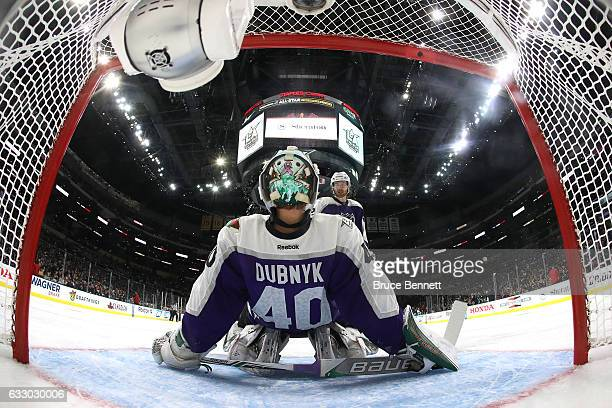 Devan Dubnyk of the Minnesota Wild stretches during a timeout against the Pacific Division AllStars during the 2017 Honda NHL AllStar Game Semifinal...