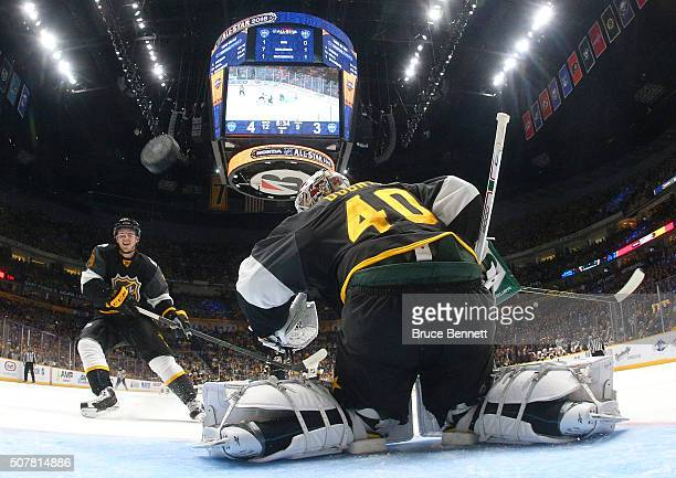 Devan Dubnyk of the Minnesota Wild tends goal during the Western Conference Semifinal Game between the Central Division and the Pacific Division as...