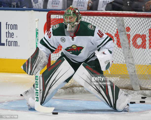 Devan Dubnyk of the Minnesota Wild warms up prior to action against the Toronto Maple Leafs in the Next Generation NHL game at Scotiabank Arena on...