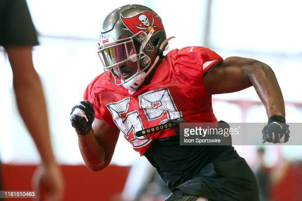 Devante Bond goes thru drills during the Tampa Bay Buccaneers Training Camp on August 12, 2019 at the AdventHealth Training Center at One Buccaneer...