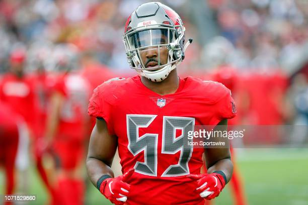 Devante Bond of the Bucs trots to the sidelines during the regular season game between the New Orleans Saints and the Tampa Bay Buccaneers on...