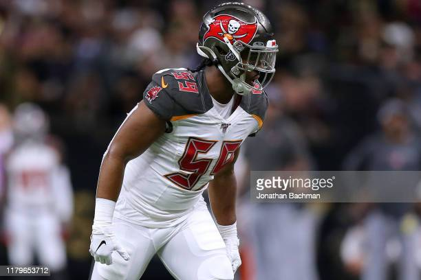 Devante Bond of the Tampa Bay Buccaneers in action during a game against the New Orleans Saints at the Mercedes Benz Superdome on October 06, 2019 in...