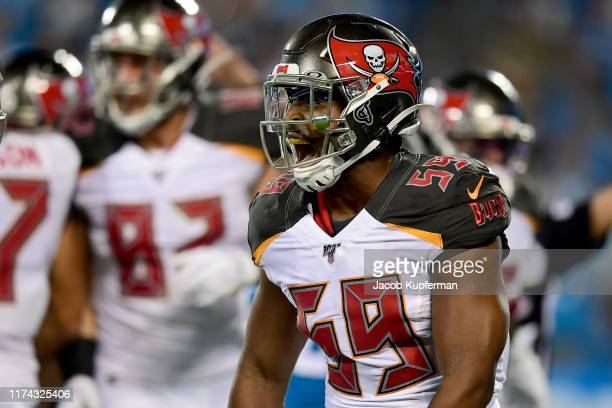 Devante Bond of the Tampa Bay Buccaneers reacts after a tackle in the first quarter during their game against the Carolina Panthers at Bank of...