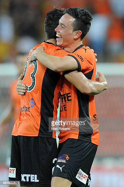 Devante Clut of the Roar celebrates victory with Dimitri Petratos after the round 16 ALeague match between Brisbane Roar and the Wellington Phoenix...