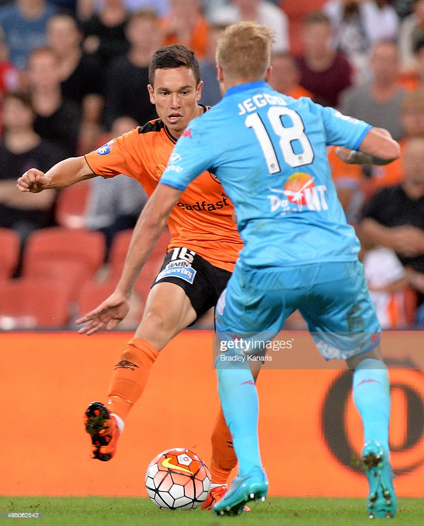 Devante Clut of the Roar looks to take on the defence during the round four A-League match between Brisbane Roar and Adelaide United at Suncorp Stadium on October 31, 2015 in Brisbane, Australia.