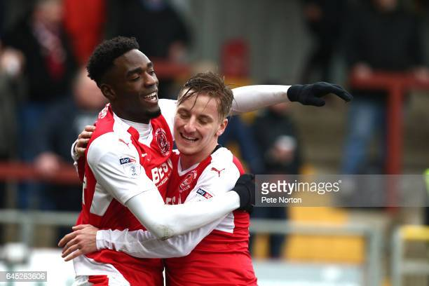 Devante Cole of Fleetwood Town celebrates with team mateGeorge Glendon after scoring his sides first goal during the Sky Bet League One match between...