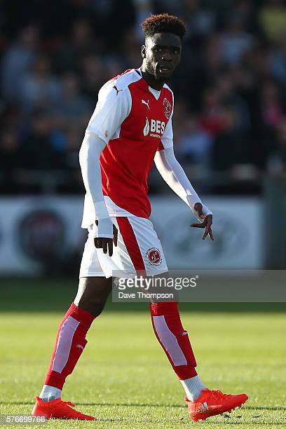 Devante Cole of Fleetwood Town during the PreSeason Friendly match between Fleetwood Town and Liverpool at Highbury Stadium on July 13 2016 in...