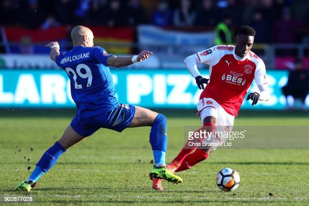 Devante Cole of Fleetwood Town in action with Yohan Benalouane of Leicester City during The Emirates FA Cup Third Round match between Fleetwood Town...