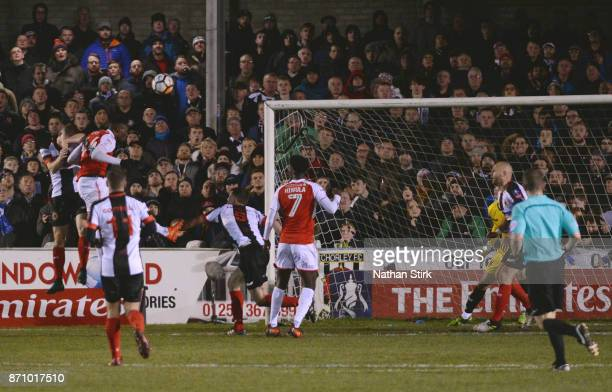 Devante Cole of Fleetwood Town scores during The Emirates FA Cup First Round match between Chorley and Fleetwood Town at Victory Park on November 6...