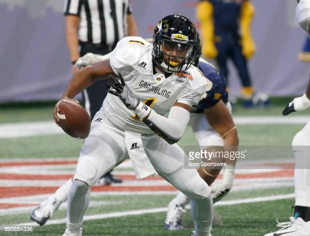 Devante Kincade scrambles during the bowl game between the North Carolina A&T Aggies and the Grambling State Tigers on December 16, 2017 at Mercedes-...