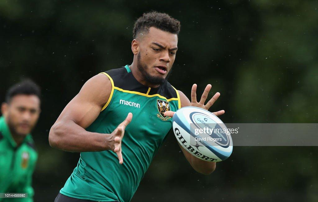Devante Onojaife catches the ball during the Northampton Saints training session held at Franklin's Gardens on August 10, 2018 in Northampton, England.