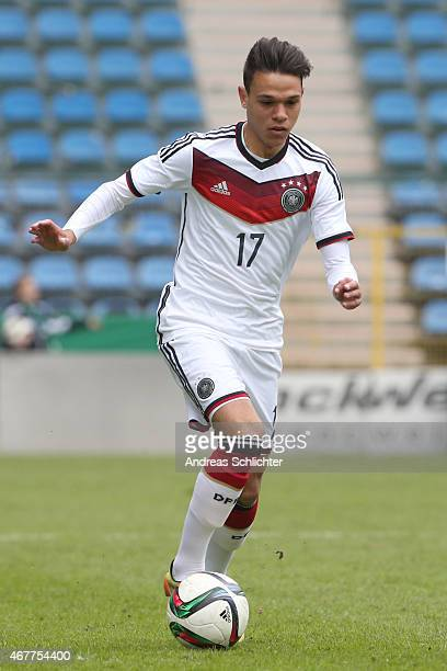 Devante Parker of Germany during the UEFA Under19 Elite Round match between U19 Germany and U19 Slovakia at Carl-Benz-Stadium on March 26, 2015 in...