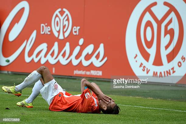 Devante Parker of Mainz celebrates after scoring the opening goal during the 3 Liga playoff leg 2 match between 1 FSV Mainz 05 II and TSG Neustrelitz...