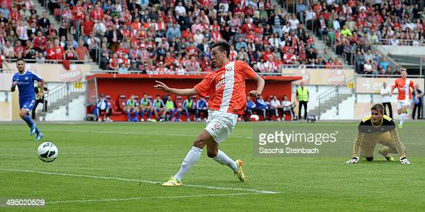 Devante Parker of Mainz scores the opening goal during the 3 Liga playoff leg 2 match between 1 FSV Mainz 05 II and TSG Neustrelitz at...