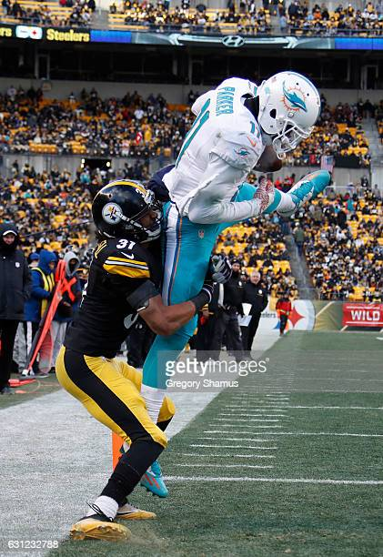 DeVante Parker of the Miami Dolphins attempts to catch a pass in the end zone during the fourth quarter against the Pittsburgh Steelers in the AFC...