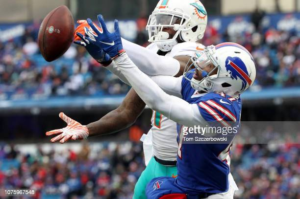DeVante Parker of the Miami Dolphins cannot catch a pass in the second quarter during NFL game action as Levi Wallace of the Buffalo Bills defends at...
