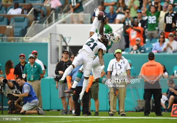 DeVante Parker of the Miami Dolphins catches a touchdown pass against Ronald Darby of the Philadelphia Eagles in the first quarter at Hard Rock...