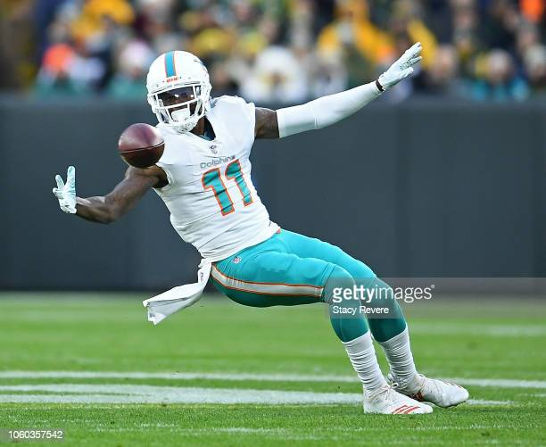 DeVante Parker of the Miami Dolphins fails to catch a pass during the first half of a game against the Green Bay Packers at Lambeau Field on November...