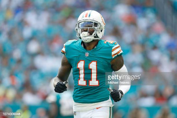 DeVante Parker of the Miami Dolphins in action against the Buffalo Bills at Hard Rock Stadium on December 2 2018 in Miami Florida