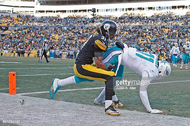 DeVante Parker of the Miami Dolphins is knocked out of bounds by Ross Cockrell of the Pittsburgh Steelers while attempting a two point conversion in...