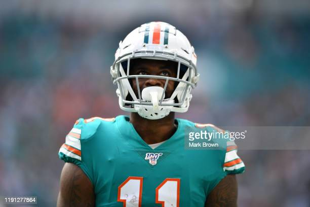 DeVante Parker of the Miami Dolphins looks on after making a catch against the Philadelphia Eagles in the second quarter at Hard Rock Stadium on...